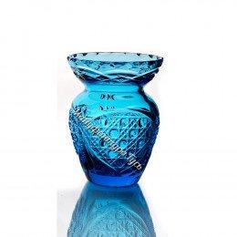 Хрустальная ваза для цветов «Маки» цв.бирюзовый