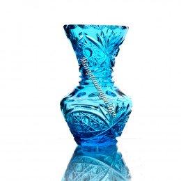 Хрустальная ваза для цветов «Крынка» цв.бирюзовый