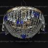 Люстра хрустальная Анжелика 3 лампы журавлик синяя
