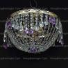Люстра хрустальная Анжелика 3 лампы журавлик фиолетовая