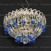 Люстра хрустальная Катерина зеркальная шар синий 40 мм