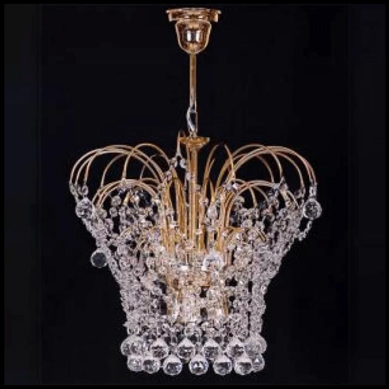 Люстра хрустальная Каскад 3 лампы корона