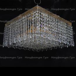 Люстра хрустальная Квадрат 5 ламп Гамма дубик длинная