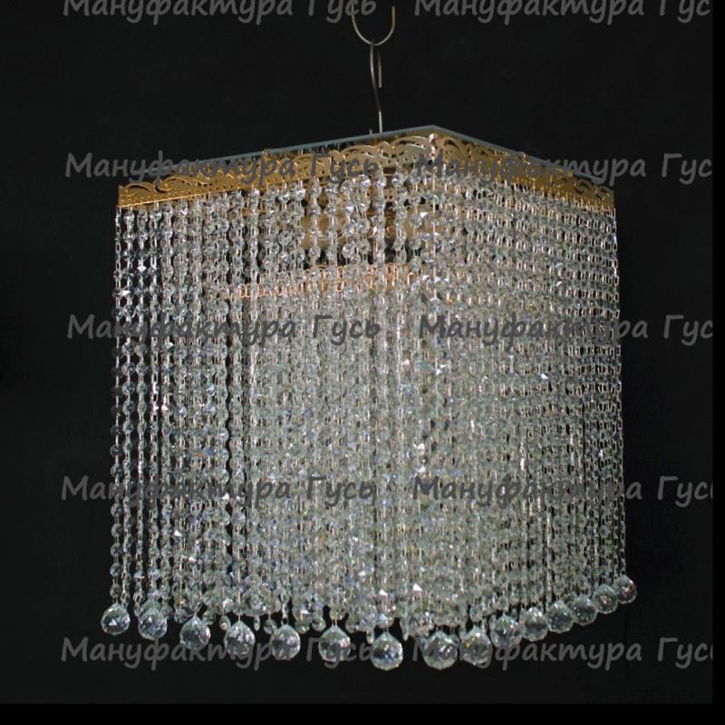 Люстра хрустальная Квадрат 5 ламп Гамма шар 30 мм длинная № 2