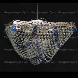 Люстра хрустальная Квадрат 5 ламп Бриз синяя