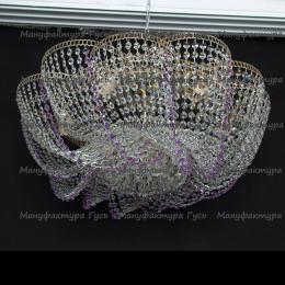 Люстра хрустальная Лотос Елена 6 ламп фиолетовая