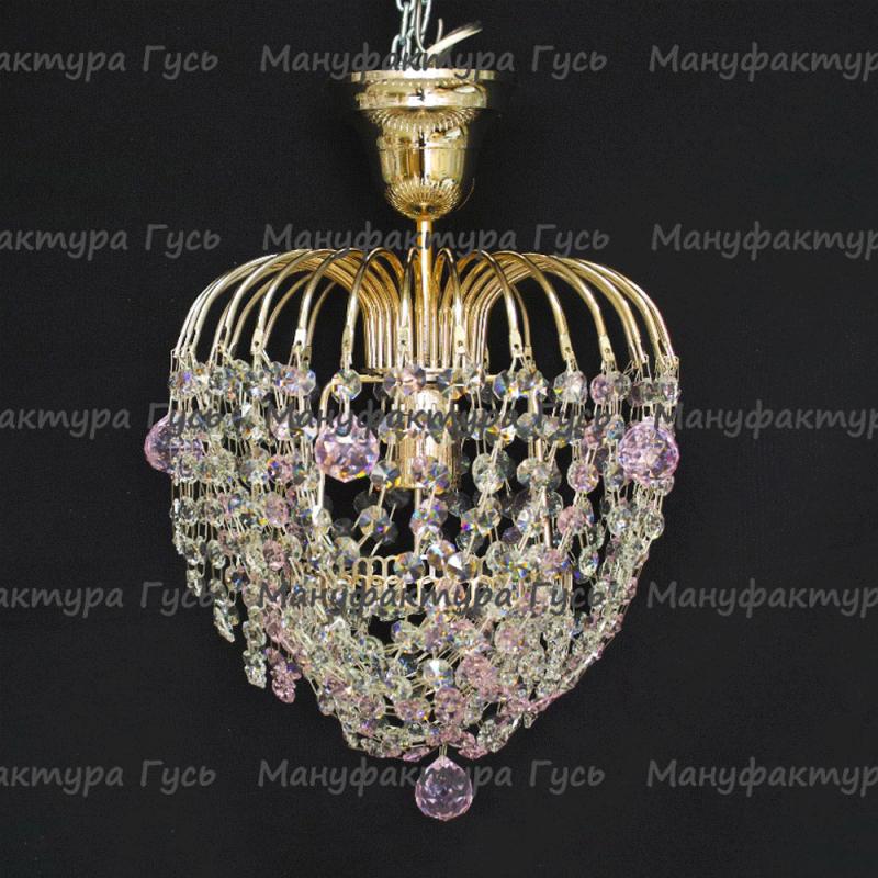 Люстра хрустальная Малинка шар розовая