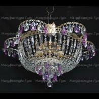 Люстра хрустальная Ромашка с подвесом фиолетовая