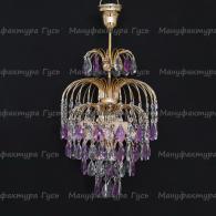Люстра  Хрустальные брызги с подвесом фиолетовая