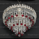 Люстра хрустальная Капель-лепесток  шар 30 мм красный