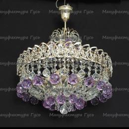 Люстра хрустальная Катерина с подвесом шар фиолетовый