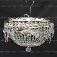 Люстра хрустальная Анжелика 3 лампы дубик розовый