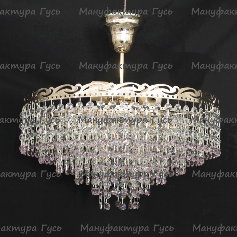 Люстра хрустальная Капель 3 лампы обтикон розовый с подвесом (собрана под конус)