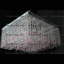 Люстра хрустальная Квадрат 5 ламп Гамма дубик розовый длинная