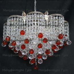 Люстра хрустальная Ромашка Крона шар 30 мм красная