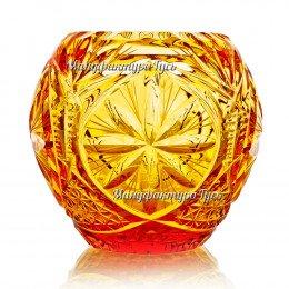 Хрустальная  ваза для цветов «Былина» цв.янтарный