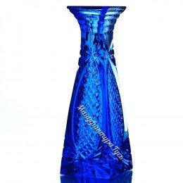 Хрустальная ваза для цветов «Пирамида» цв.синий