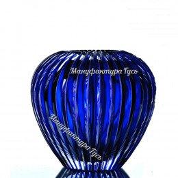 "Хрустальная ваза для цветов ""Каскад"" маленькая,цв.синий"