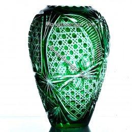 Ваза хрустальная для цветов «Каскад» сред. произвольный рисунок, цв.зеленый