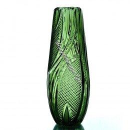 """Хрустальная ваза для цветов """"Капля"""" бол.,произвольный рисунок цв.зеленый"""