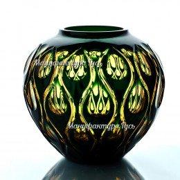 Хрустальная ваза для цветов «Богема» сред.,цв. янтарно-зеленая
