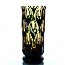 Хрустальная ваза для цветов «Богема» бол., цв. янтарно-зеленая