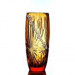 Хрустальная ваза для цветов «Заря» мал., цв.янтарный