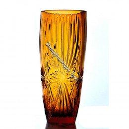 Хрустальная ваза для цветов «Заря» бол., цв.янтарный