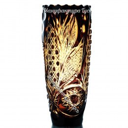Хрустальная ваза для цветов «Заря» бол., произвольный рисунок