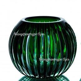 Хрустальная  ваза для цветов «Разноцвет»сред., цв.зеленый