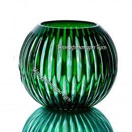 Хрустальная  ваза для цветов «Разноцвет» бол., цв.зеленый