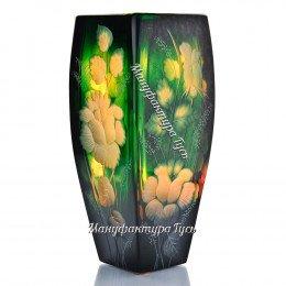 Хрустальная  ваза для цветов «Марта» с гравировкой цв.зеленый