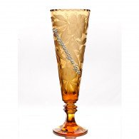 Хрустальная  ваза для цветов «Глория» с гравировкой, цв.янтарный