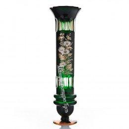 Хрустальная  ваза для цветов «Лучано» с золотом,цв. зеленый