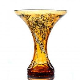 Хрустальная  ваза для цветов «Лили»  с живописью