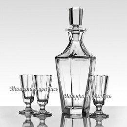 Хрустальный набор «Березы России» (штоф с пробкой, 4 стакана для виски)