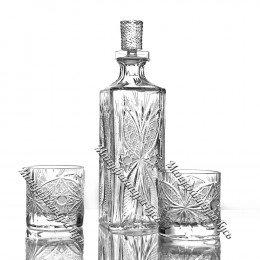 Хрустальный набор «Махаон» (штоф с пробкой, 2 стакана)