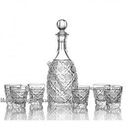 Хрустальный набор «Застолье» (графин с пробкой, 6 стаканов)