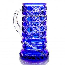 Хрустальная кружка для пива «Престиж» с гравировкой цв.синий