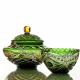 Хрустальная ваза для конфет  «Серенада»  произвольный рис.,цв.зеленый