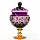 Хрустальная ваза для конфет «Любава» на ножке,цв.фиолетовый