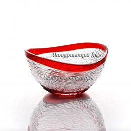 Хрустальная ваза для конфет «Серенада» цв.красный
