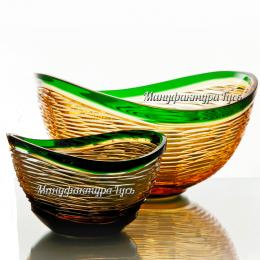 Хрустальная ваза для фруктов «Серенада» цв.зеленый
