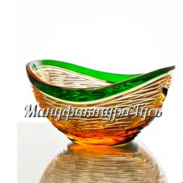Хрустальная ваза для печенья  «Серенада» цв.зеленый