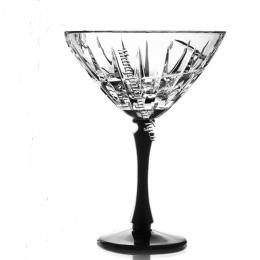"""Хрустальный набор бокалов для мартини серии """"Пламя"""" рис. """"Вертикаль""""  (на черной ножке)"""