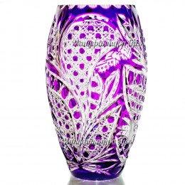 """Хрустальная  ваза для цветов «Астра» мал. рис. """"Произвольный"""" цв.фиолетовый"""