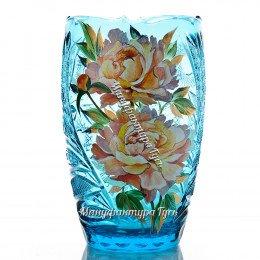 Хрустальная  ваза для цветов «Пион» бол. с живописью