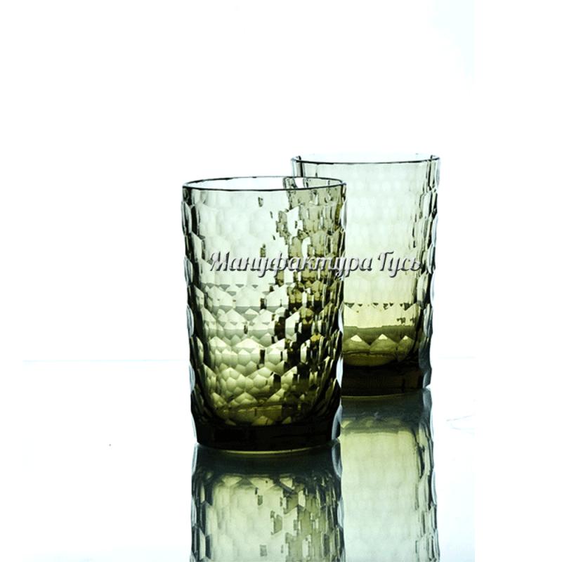 """Хрустальный стакан чайный рис. """"Пузырьки"""" цв.зеленый-болотный"""