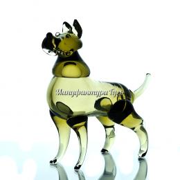 Хрустальная собачка Мухтар цв.полутон зеленый