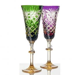Хрустальный набор бокалов «Фараон» с янтарной ножкой цв. фиолетовый